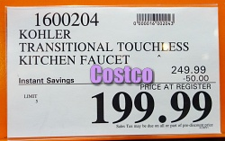 Kohler Transitional Touchless Pull-Down Kitchen Faucet | Costco Sale Price