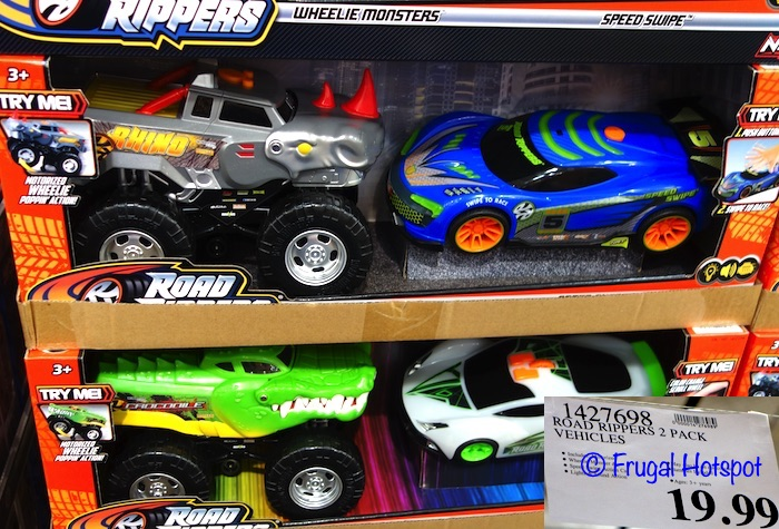 Road Rippers Vehicle 2-Pack. Motorized Wheelie Monster and Speed Swipe Action Car. | Costco