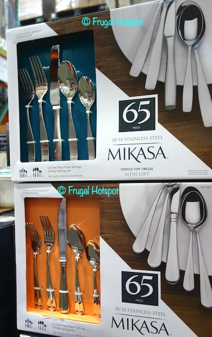 Mikasa 65-Piece Stainless Steel Flatware Set Satin Loft and Colette | Costco Display