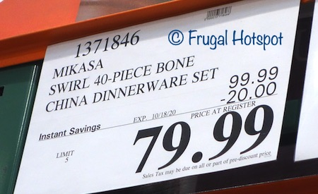 Mikasa Swirl Bone China 40-Piece Set | Costco Sale Price
