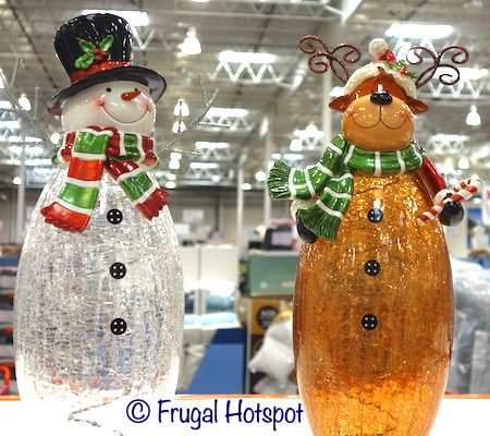 Snowman and Moose Crackle Glass Figures | Costco Display