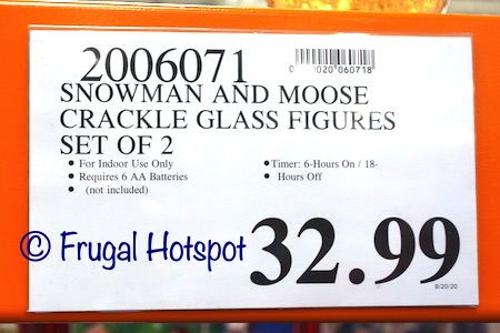 Snowman and Moose Crackle Glass Figures | Costco Price
