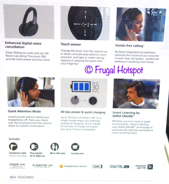 Sony Noise Canceling Wireless Headphones (WH-1000Xm3) Description | Costco