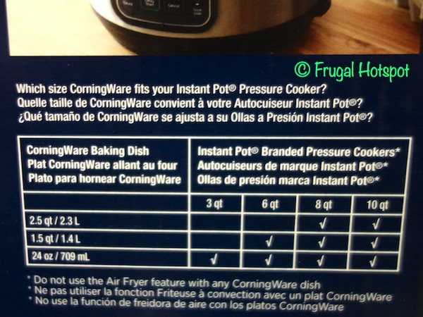 Which size CorningWare fits your Instant Pot | Costco