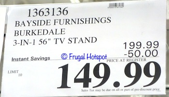 Bayside Furnishings Burkedale 3-in-1 TV Stand | Costco Sale Price