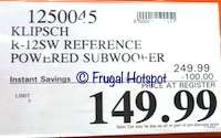 Costco Sale Price Klipsch R-12SW Reference Subwoofer