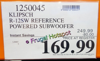 Klipsch R-12SW Reference Subwoofer | Costco Sale Price