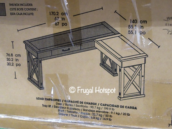 Bayside Furnishings Burke Corner Desk with Lift Dimensions | Costco