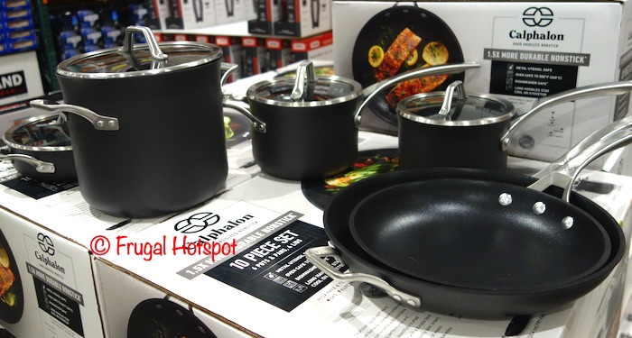 Calphalon Hard Anodized 10-Piece Cookware Set | Costco Display