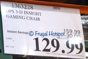 DPS 3D Insight Gaming Chair with Adjustable Headrest | Costco Sale Price