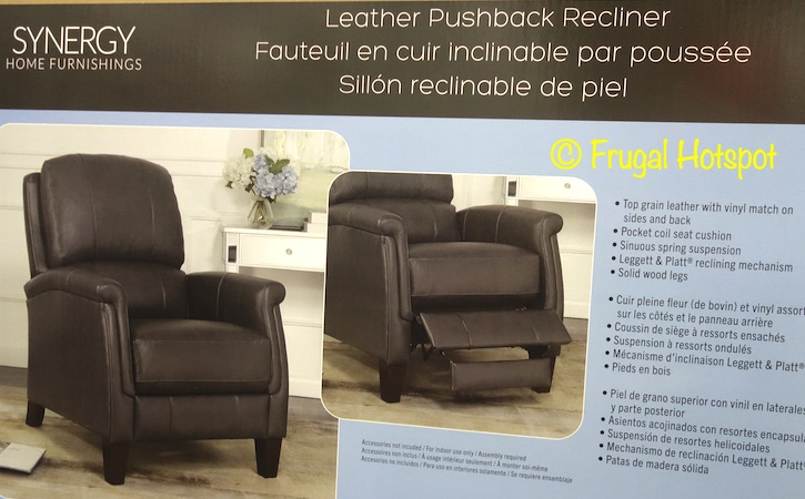 Everlie Leather Pushback Recliner Synergy Home | Costco