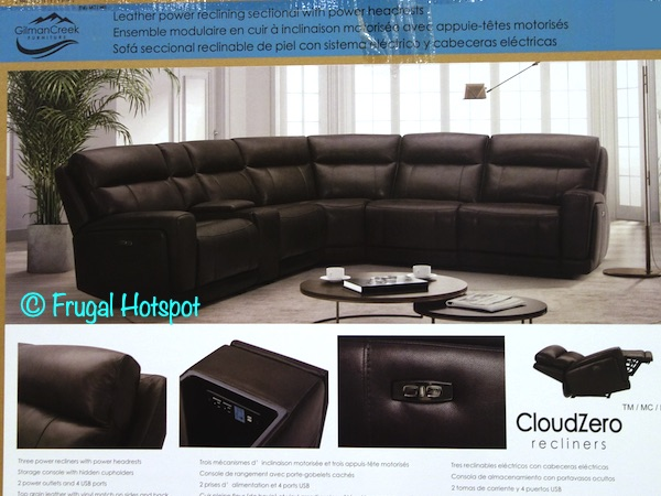Lauretta Leather Power Reclining Sectional by Gilman Creek | Costco