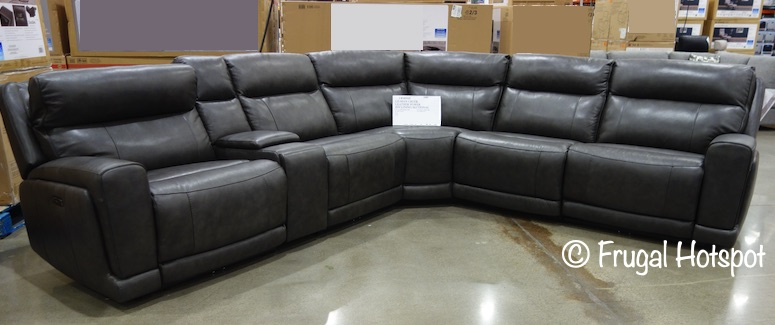 Lauretta Leather Power Reclining Sectional with Power Headrest by Gilman Creek | Costco Display