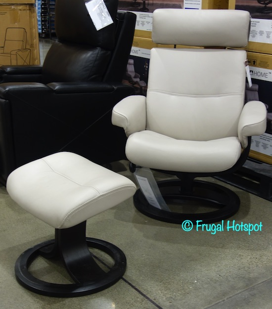 Oslo Nordic Home Leather Swivel Reclining Chair and Ottoman | Costco Display