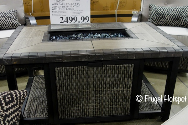 Agio Park Falls 5-Piece Woven Seating Set Fire Table | Costco Display