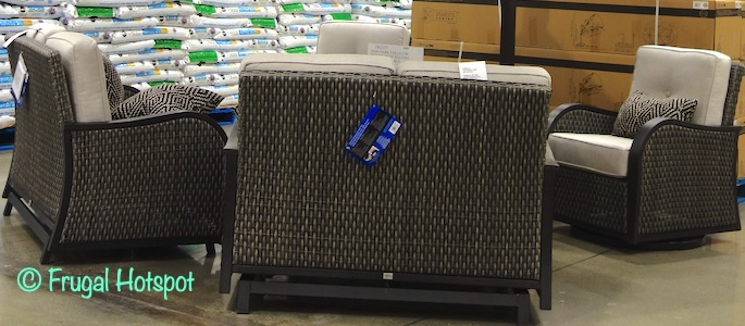 Agio Park Falls 5-Piece Woven Seating Set with Fire Table | Costco 1902357