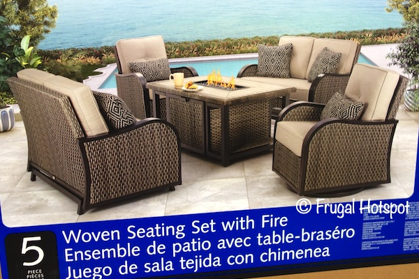 Agio Park Falls 5-Piece Woven Seating Set with Fire Table | Costco