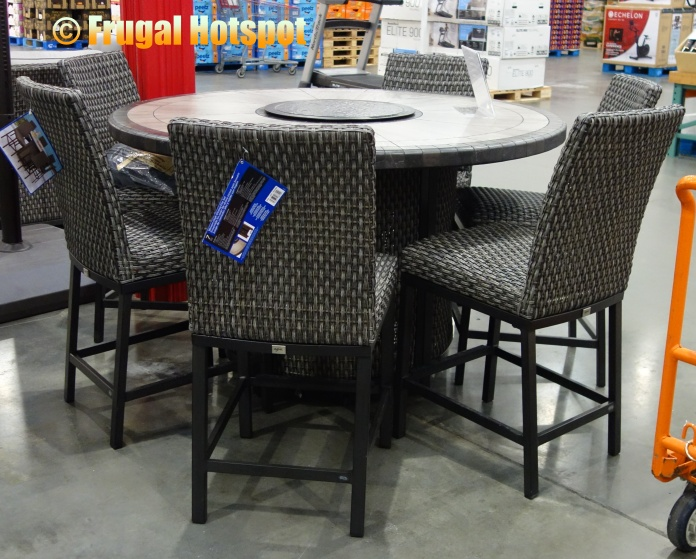 Agio Park Falls 7-Piece High Dining Fire Table Set | Costco Display