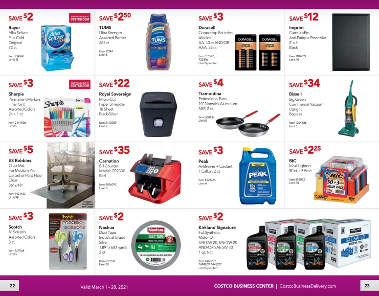 Costco Coupon Book Business Center MARCH 2021 Page 22 page 23