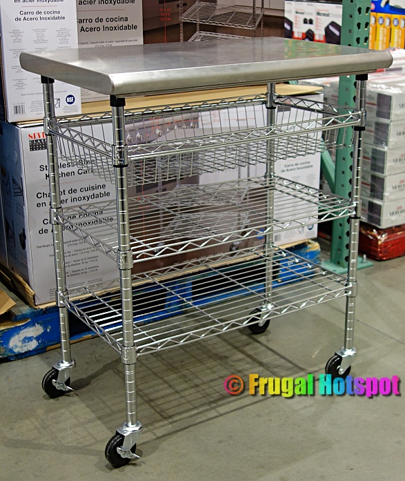Costco Display of Seville Classics Stainless Steel Kitchen Cart