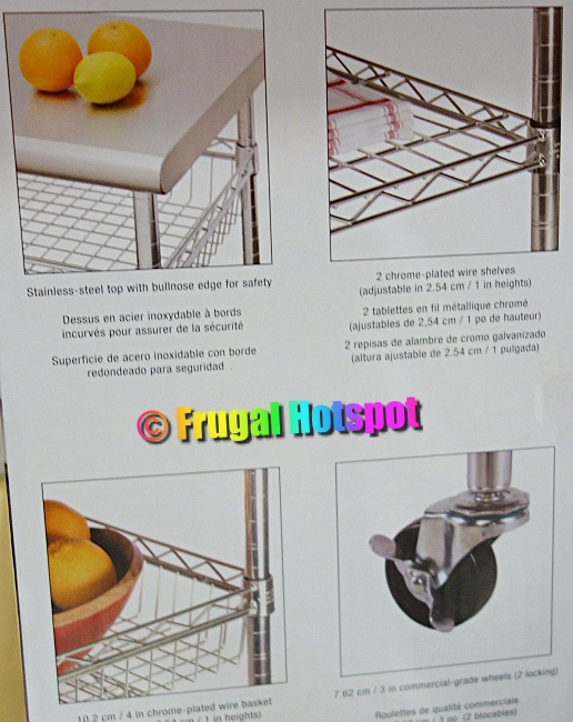 Details of Seville Classics Stainless Steel Kitchen Cart | Costco