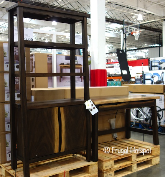 Pike & Main 54 Live Edge Writing Desk and Bookcase | Costco Display