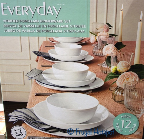overandback Everyday Porcelain 12-Piece Dinnerware Set | Costco