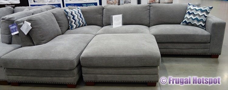 Costco Penelope Fabric Sectional with Ottoman front view