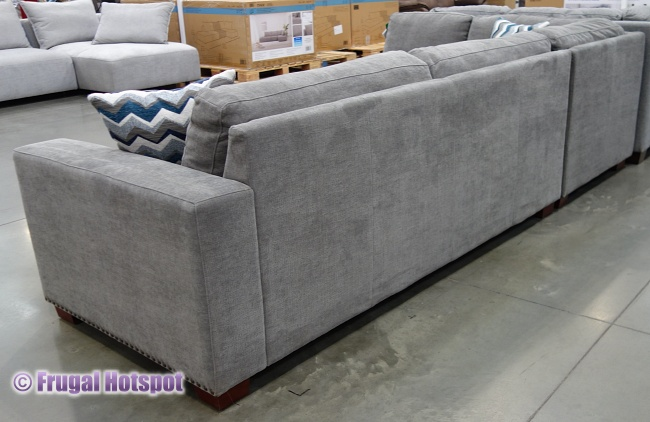Costco Penelope Fabric Sectional with Ottoman rear view
