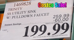 Costco Sale Price Trinity Stainless Steel Utility Sink with Pull-Out Faucet