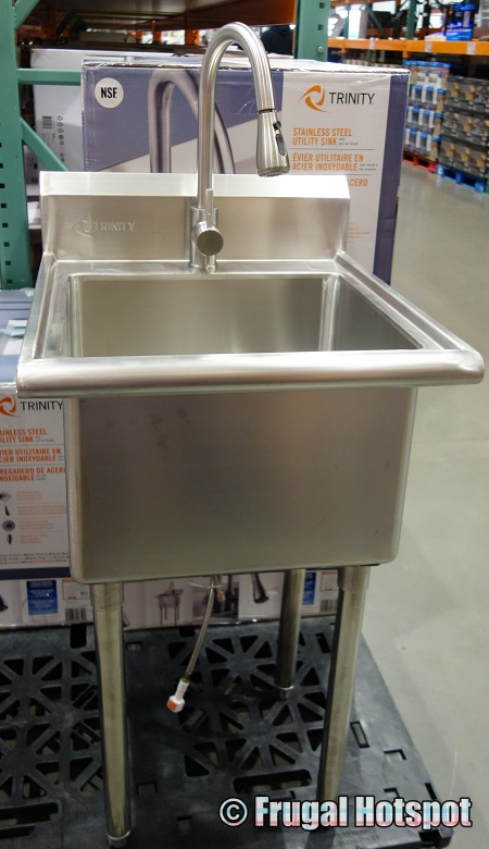 Trinity Stainless Steel Utility Sink with Pull-Out Faucet front view | Costco Display