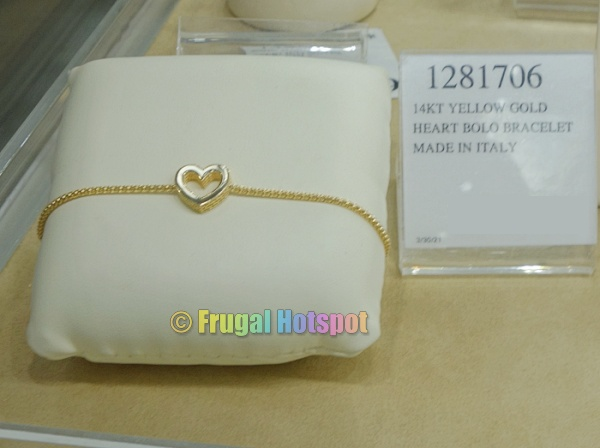 14kt Yellow Gold Heart Bolo Bracelet | Costco