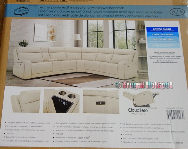 Gearhart Leather Power Reclining Sectional | Costco