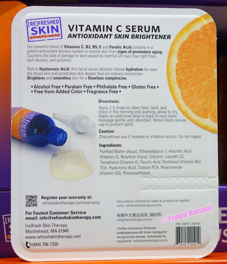 Ingredient List of Refresh Skin Therapy Vitamin C Serum   Costco
