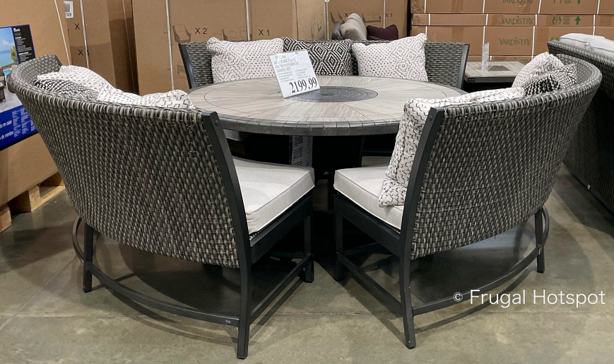 Agio Park Falls Outdoor Woven Bench Dining Set   Costco Display