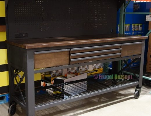 Whalen 72 Industrial Metal and Wood Workbench with Pegboard   Costco Display angled view