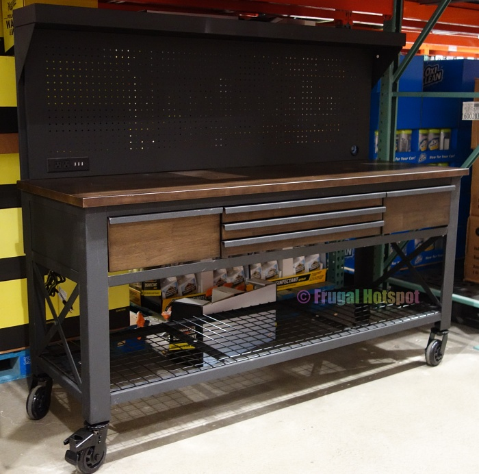 Whalen 72 Industrial Metal and Wood Workbench with Pegboard | Costco Display angled view