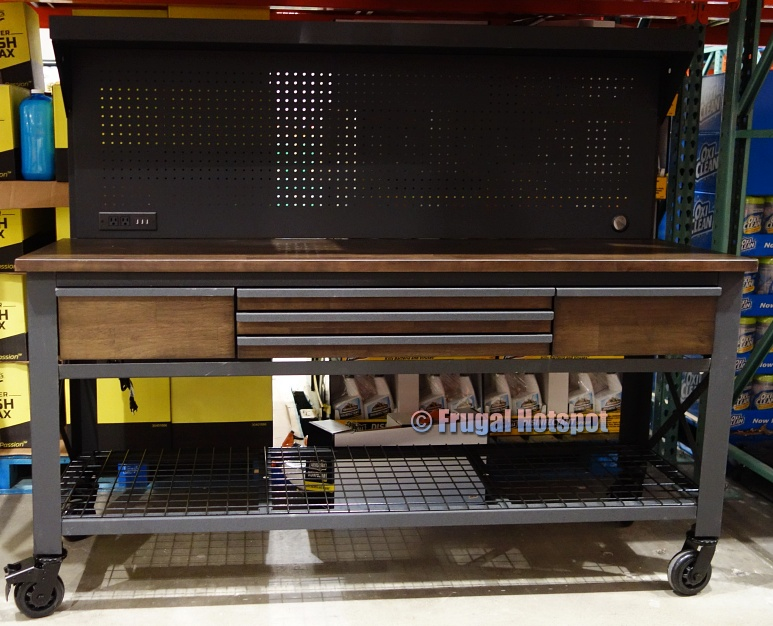 Whalen 72 Industrial Metal and Wood Workbench with Pegboard | Costco Display