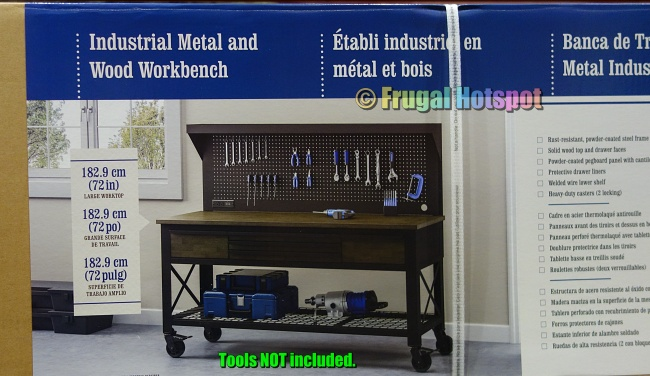 Whalen 72 Industrial Metal and Wood Workbench with Pegboard | Costco
