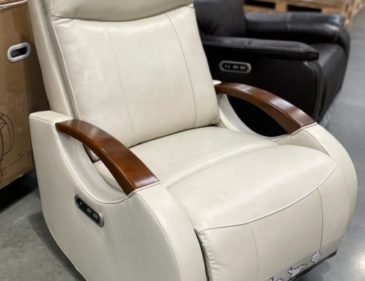 Barcalounger Leather Power Swivel Glider Recliner in cream | Costco Display