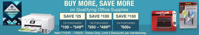 Costco online BUY more save more office supplies sale July 2021