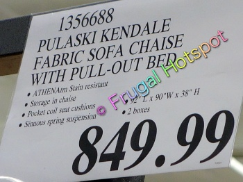Kendale Convertible Fabric Sofa Chaise with Pull-Out Bed by Pulaski | Costco Price