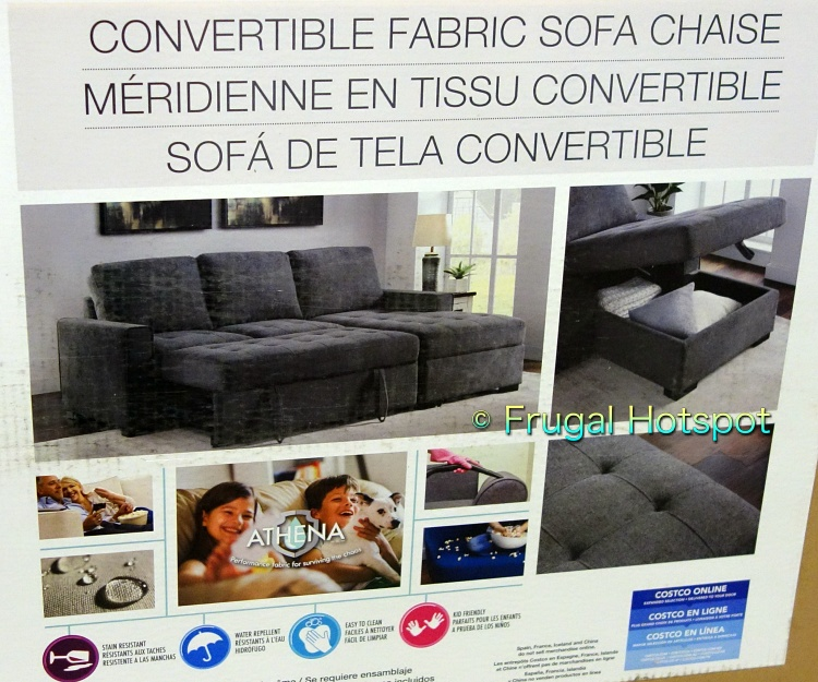 Kendale Convertible Fabric Sofa Chaise with Pull-Out Bed by Pulaski details | Costco