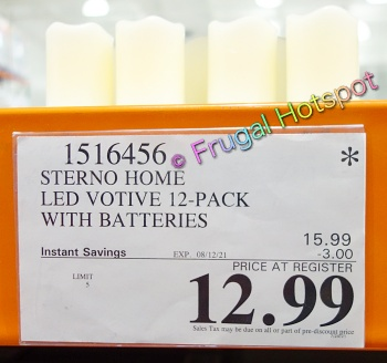 Sterno Home 12 Count LED Votive Candles with Batteries   Costco Price