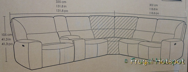 Sweeney Power Reclining Sectional by Gilman Creek   Dimensions   Costco