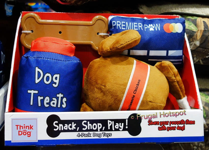 Think Dog Snack, Shop, Play! 4-Pack Dog Toys with Rotisserie Chicken   Costco