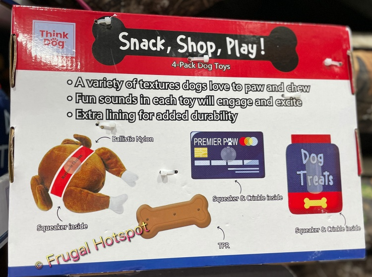 Think Dog Snack, Shop, Play! 4-Pack Dog Toys with Rotisserie Chicken toy   Costco