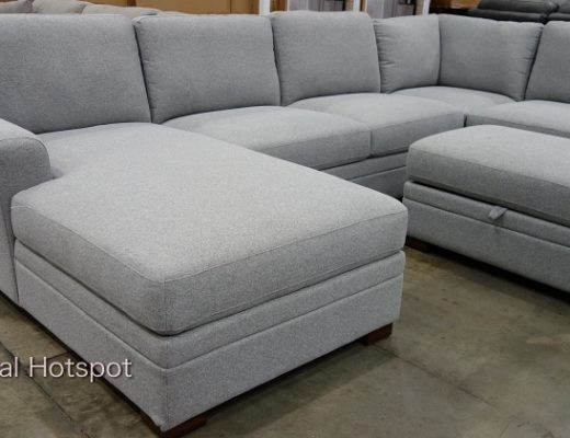 Thomasville Langdon Fabric Sectional with Storage Ottoman and chaise | Costco Display