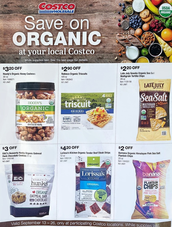 Costco Organic Coupon Book SEPTEMBER 2021 Page 1