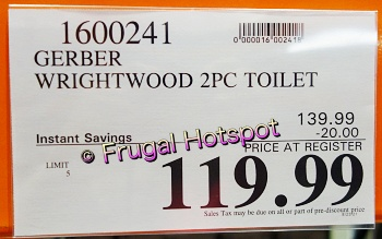 Gerber Wrightwood Dual Flush Elongated Complete Toilet Kit | Costco Sale Price